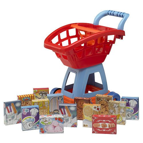 Toys R Us Play Dishes : Just like home piece deluxe shopping cart with food