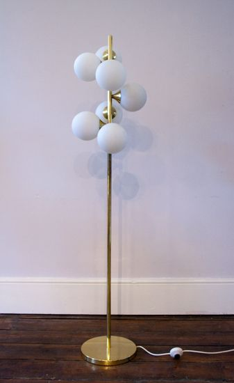 1960s floor lamp with glass ball shades and brass base the old 1960s floor lamp with glass ball shades and brass base the old cinema antique furniture vintage industrial danish french mozeypictures Gallery