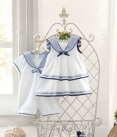 Cute Lovely baby boys girls summer clothing girls cotton dress boys rompers Navy clothes kids