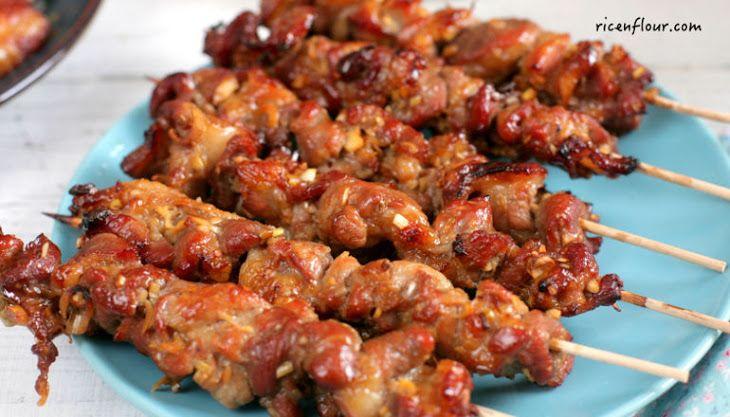 Vietnamese Grilled Pork Skewers Recipe Main Dishes with pork shoulder, shallots, garlic, lemongrass, caramel sauce, sesame oil, fish sauce, oyster sauce, granulated sugar, oil, ground black pepper, white sesame seeds, bamboo shoots