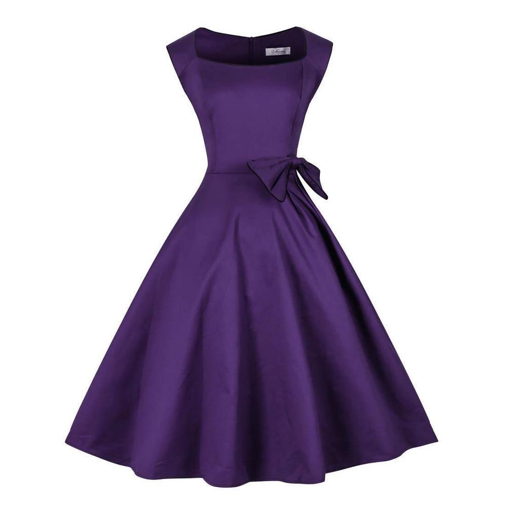 New Women Vintage Purple Royal Blue Black Robe Audrey Hepburn ...