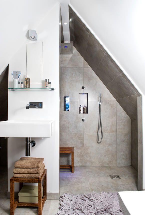 Duschnische unter der Dachschräge | Duschnische, Dachschräge und ...
