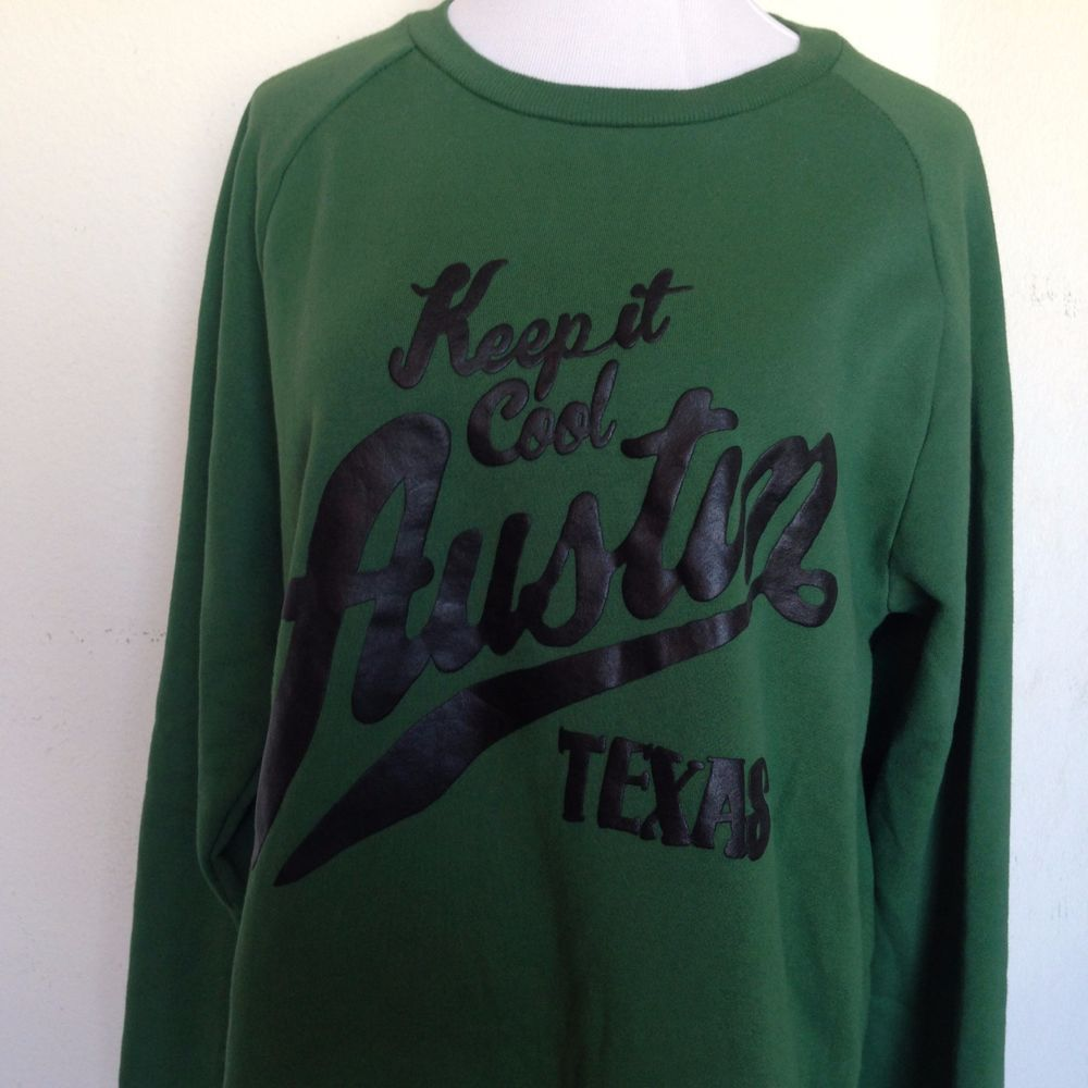 "21 Men ""Keep It Cool Austin Texas"" Green Sweatshirt Size XL Forever 21 #FOREVER21 #SweatshirtCrew #Texas #Austin"
