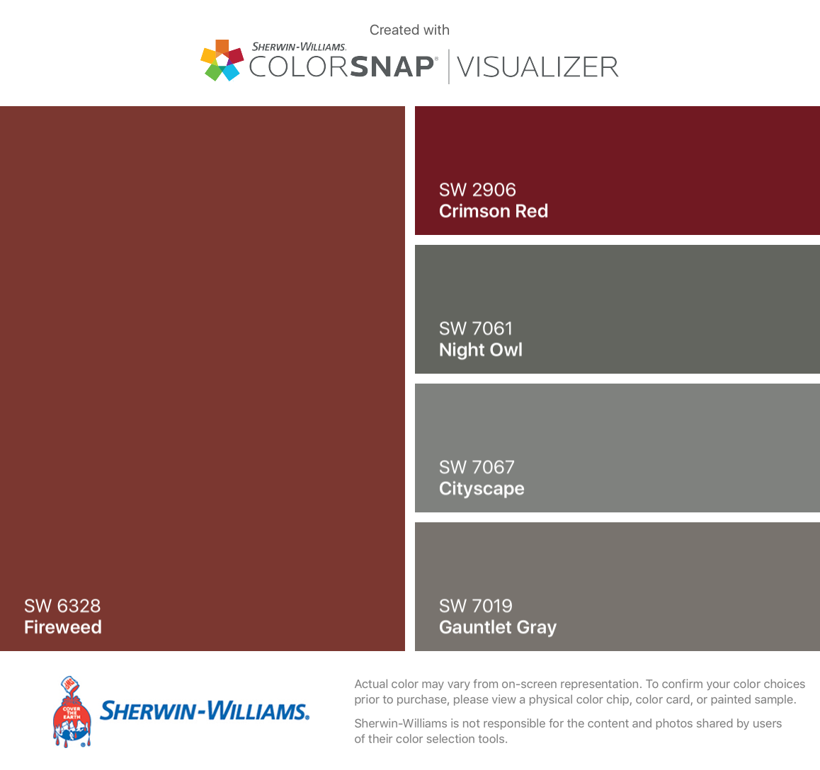 I Found These Colors With ColorSnapR Visualizer For IPhone By Sherwin Williams Fireweed SW 6328 Crimson Red 2906 Night Owl 7061