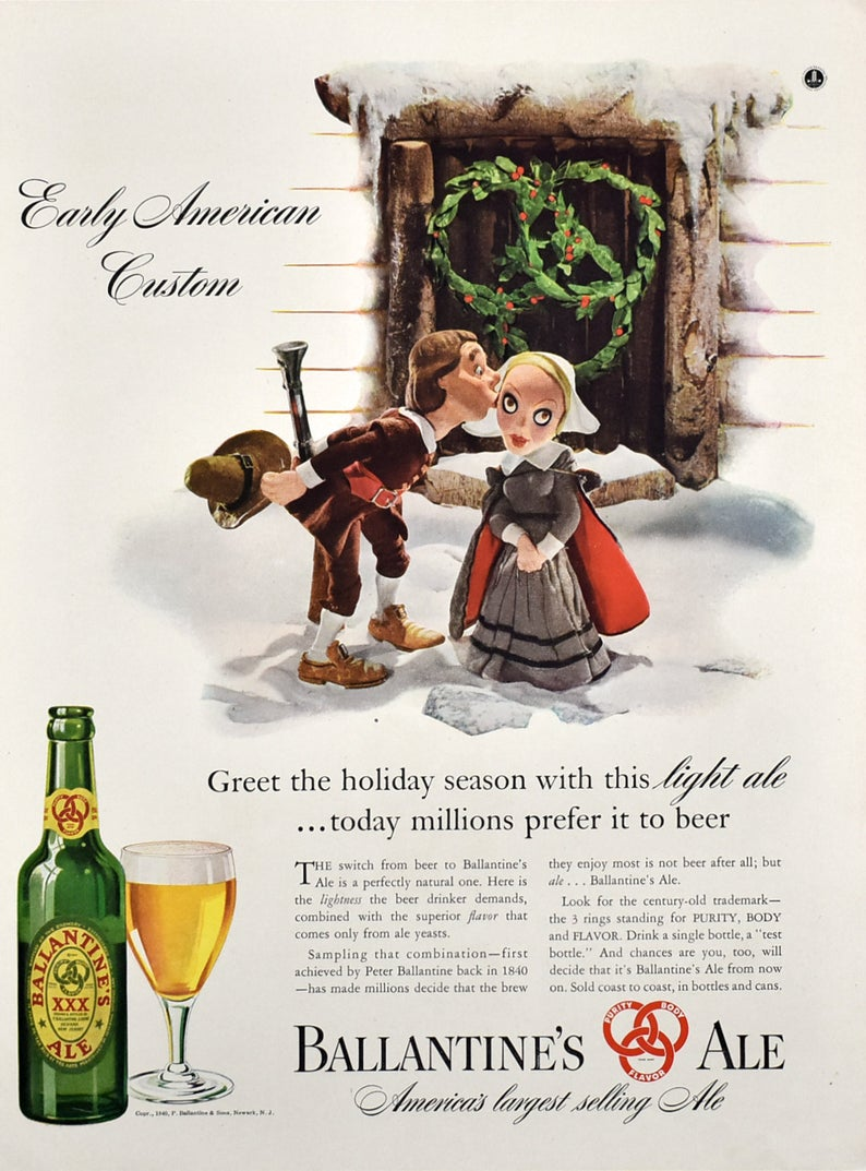 Early American Christmas 2020 Magazine 1940 Ballantine's Ale Ad Pilgrims Kissing Early | Etsy in 2020