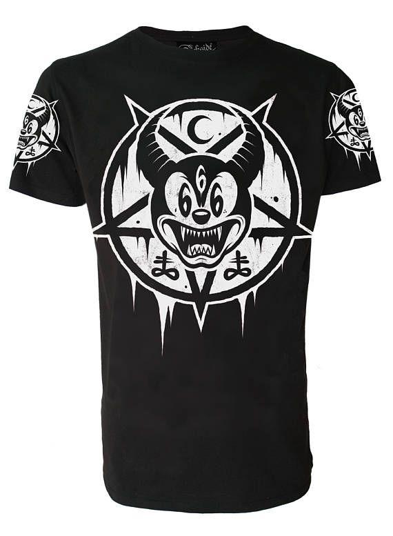9787f6f9 MICKEY 666 T SHIRT Occult Pentagram Satanic Goth Emo | etsy | Men ...