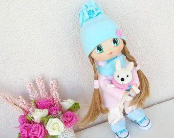 Lisa hecha a mano muñeca tela muñeca textil muñeca flor muñeca