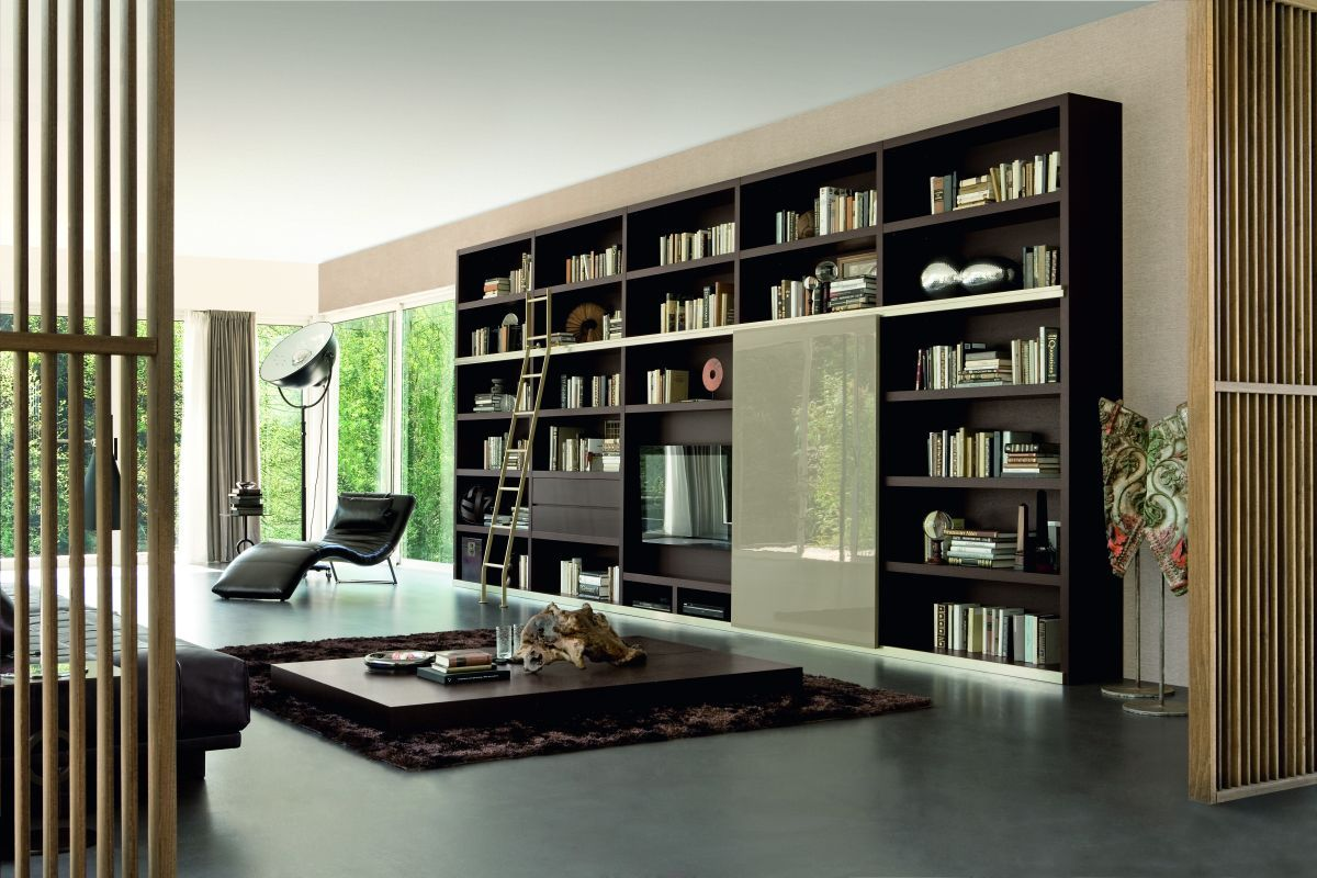 modern interior with contemporary home library great home library design with modern black wooden wall bookcase furniture ideas also unique corner black - Bookcase Design Ideas