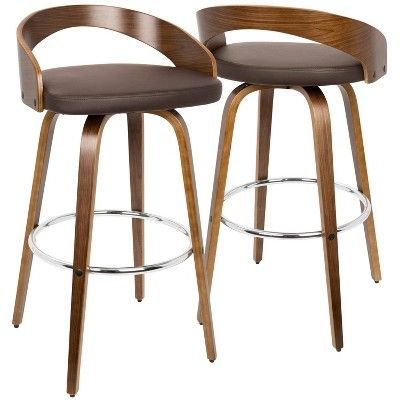 Set Of 2 Grotto Mid Century Modern Barstool With Swivel