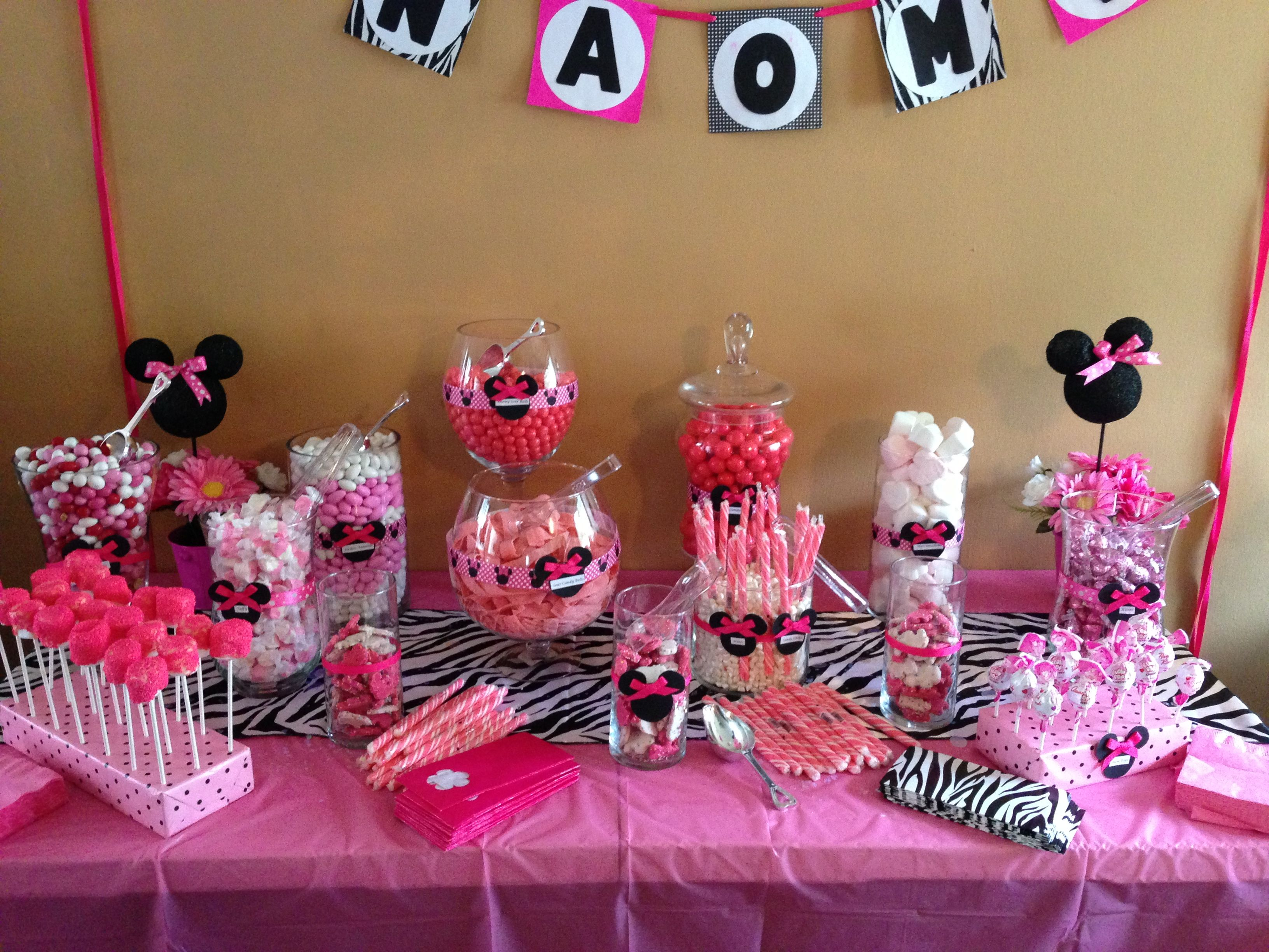 Minnie Mouse Candy Buffet Minnie Mouse Theme Party Minnie Mouse Party Minnie Mouse 1st Birthday