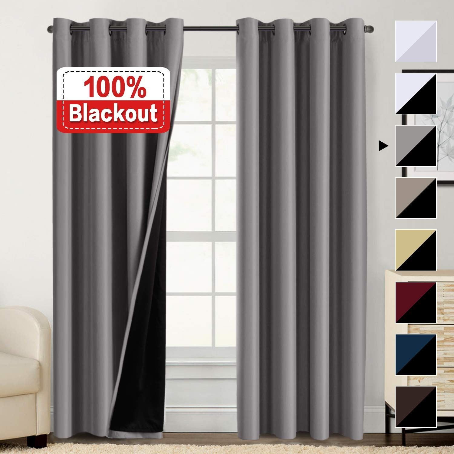 100 Blackout Curtains For Bedroom Energy Saving Pair Curtains For Sliding Glass Doors Thermal Insulated Curtains With Black Liner Double Laye In 2020 Blackout Curtains