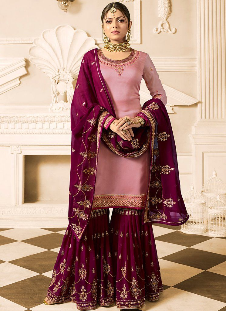 c309e95588 Light Pink and Magenta Embroidered Gharara Suit features a satin georgette  kameez, georgette gharara bottom with santoon inner and georgette dupatta.