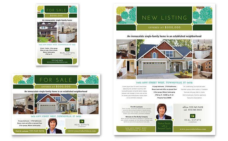 Real Estate Ad Design, graphic design, advertisement Real estate - home for sale brochure
