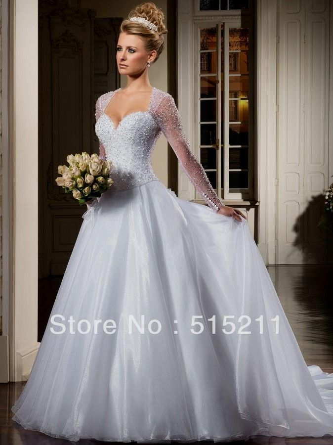 Beautiful Beading Long Sleeves See Through Back Princess Ball Gown ...
