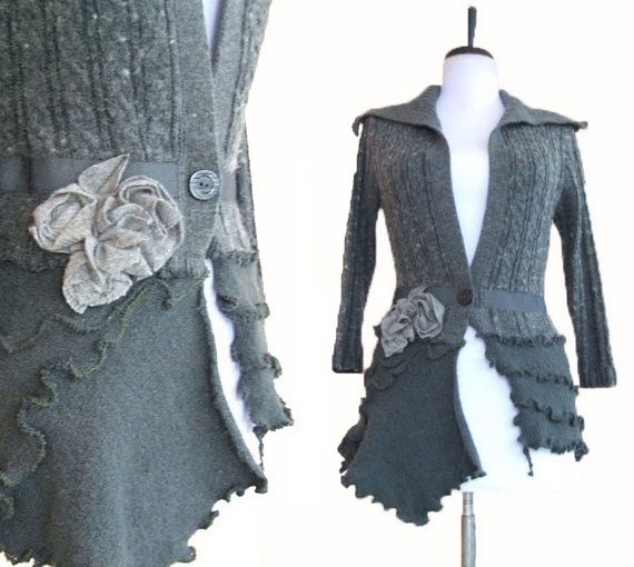 Floral Cardigan S/M Small Medium Recycled Eco Friendly Flower Jacket Charcoal Heather Gray Asymmetric