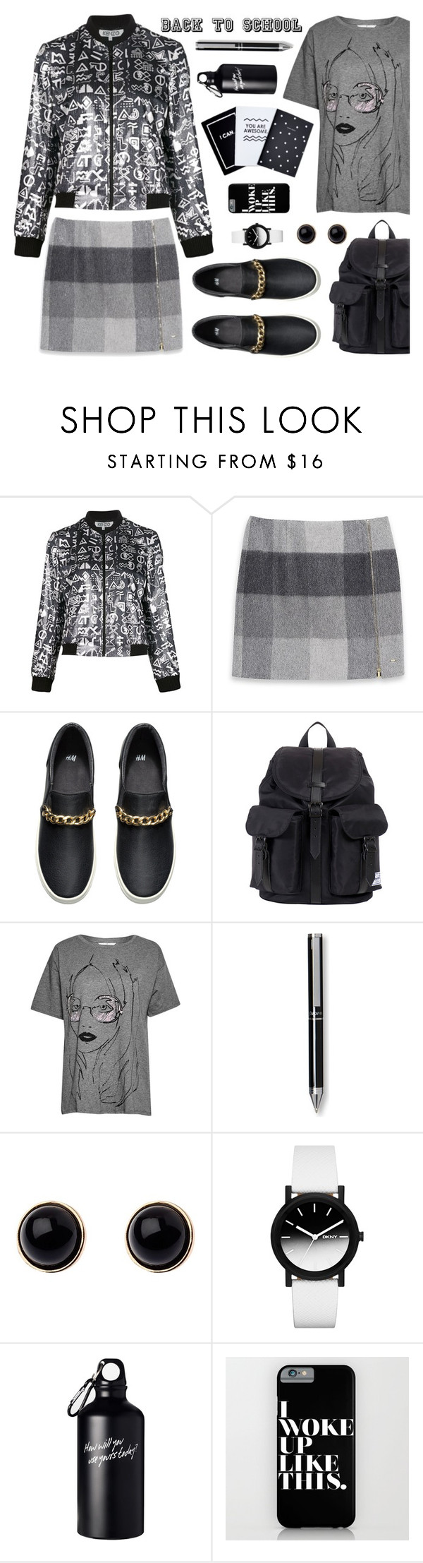 """""""Back To School Outfit"""" by nans-g ❤ liked on Polyvore featuring Kenzo, Tommy Hilfiger, H&M, Herschel Supply Co., French Connection, FiloFax, Adele Marie and DKNY"""