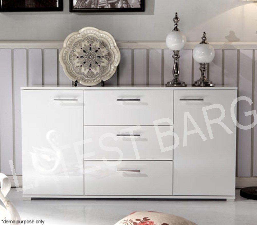 Buffet Sideboard High Gloss Storage Cabinet Dresser Table Cupboard ...