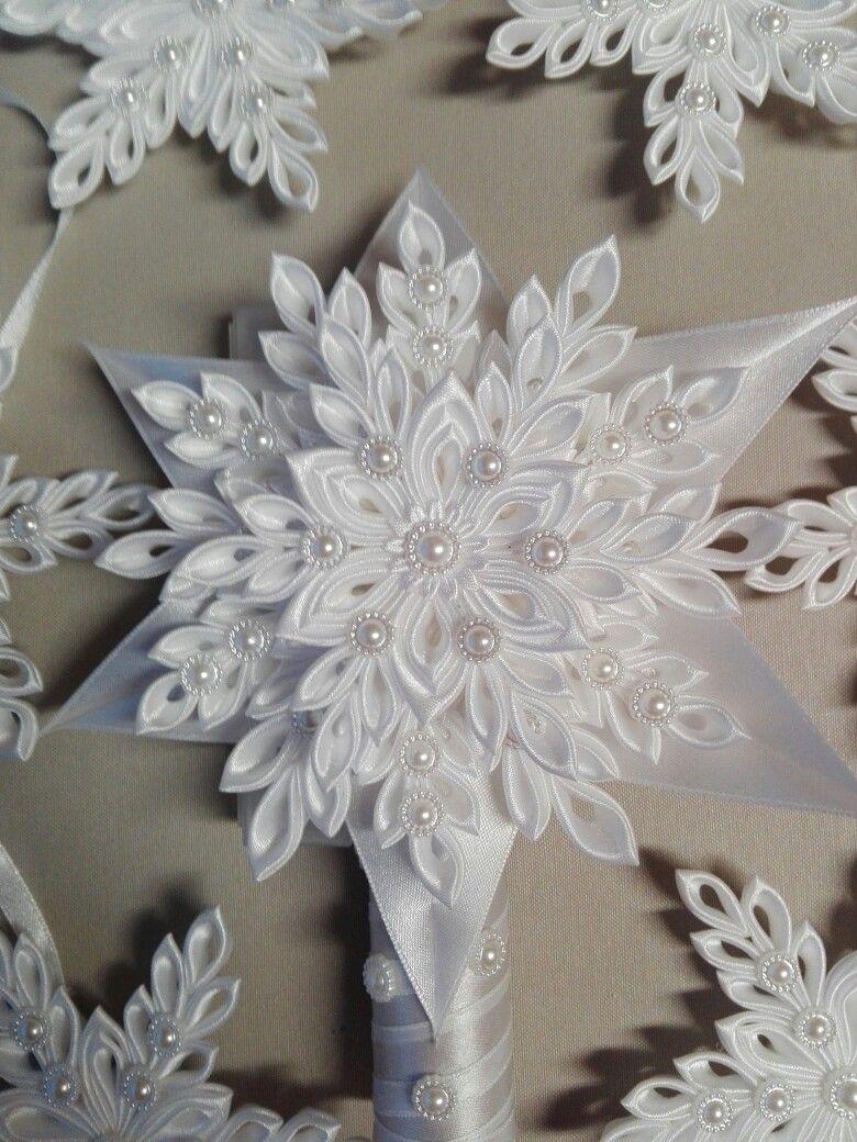 Czubek Na Choinke Fabric Ornaments Fabric Flowers Ribbon Crafts