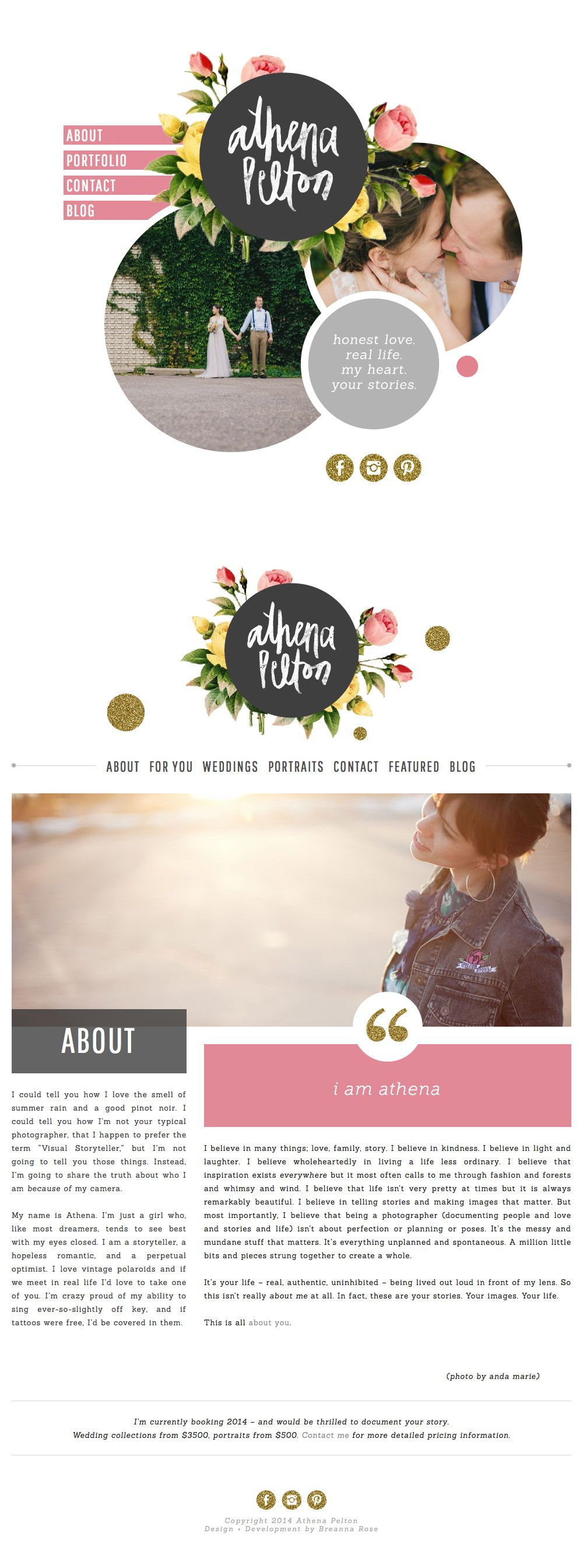 Athena pelton website design inspiration love the logo and style