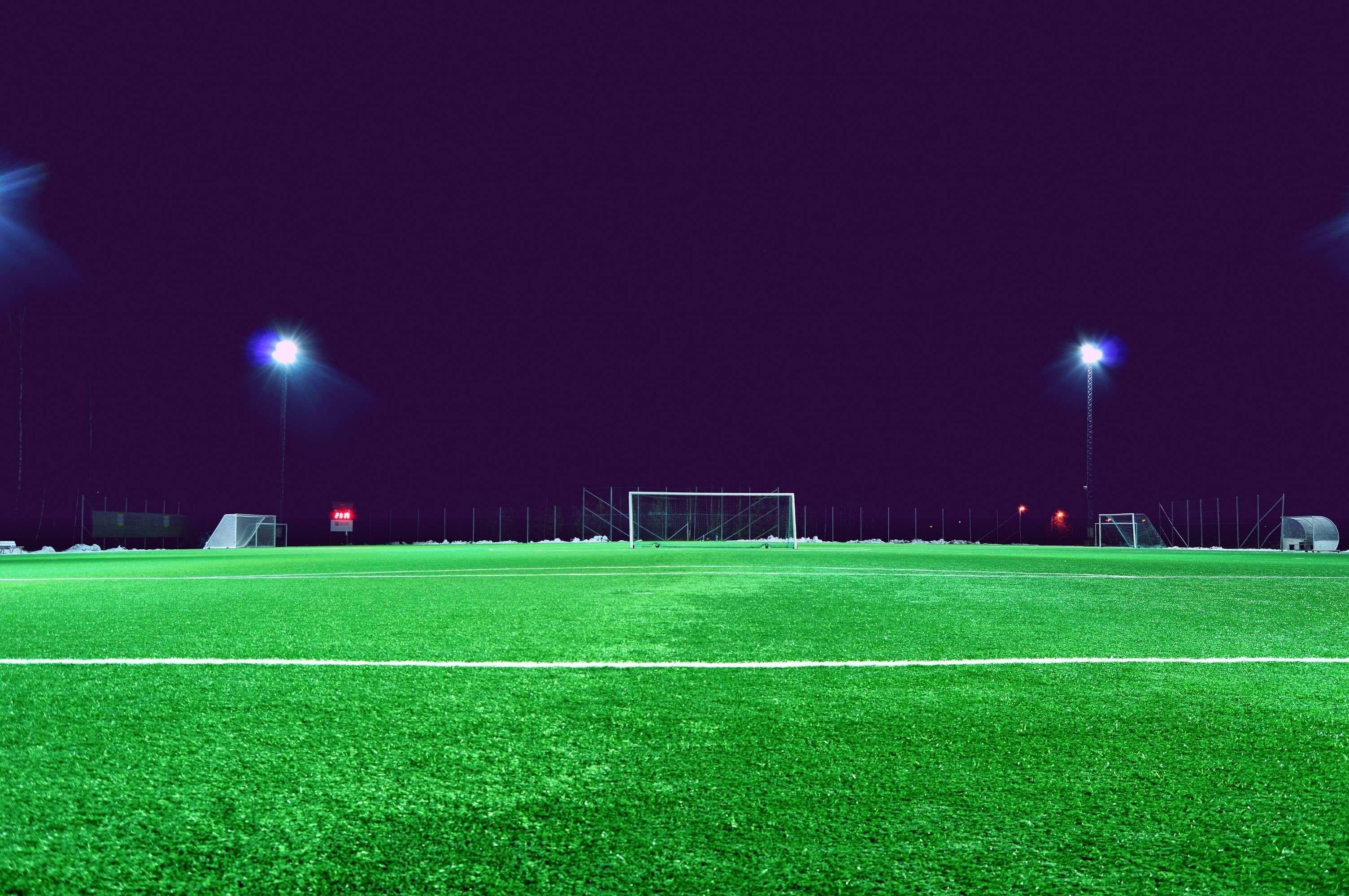 Evening Field Football Field Goal Grass Green Ground Lawn Lights Night Open Field Outdoors Soccer Soccer Field Football Field Soccer Soccer Field