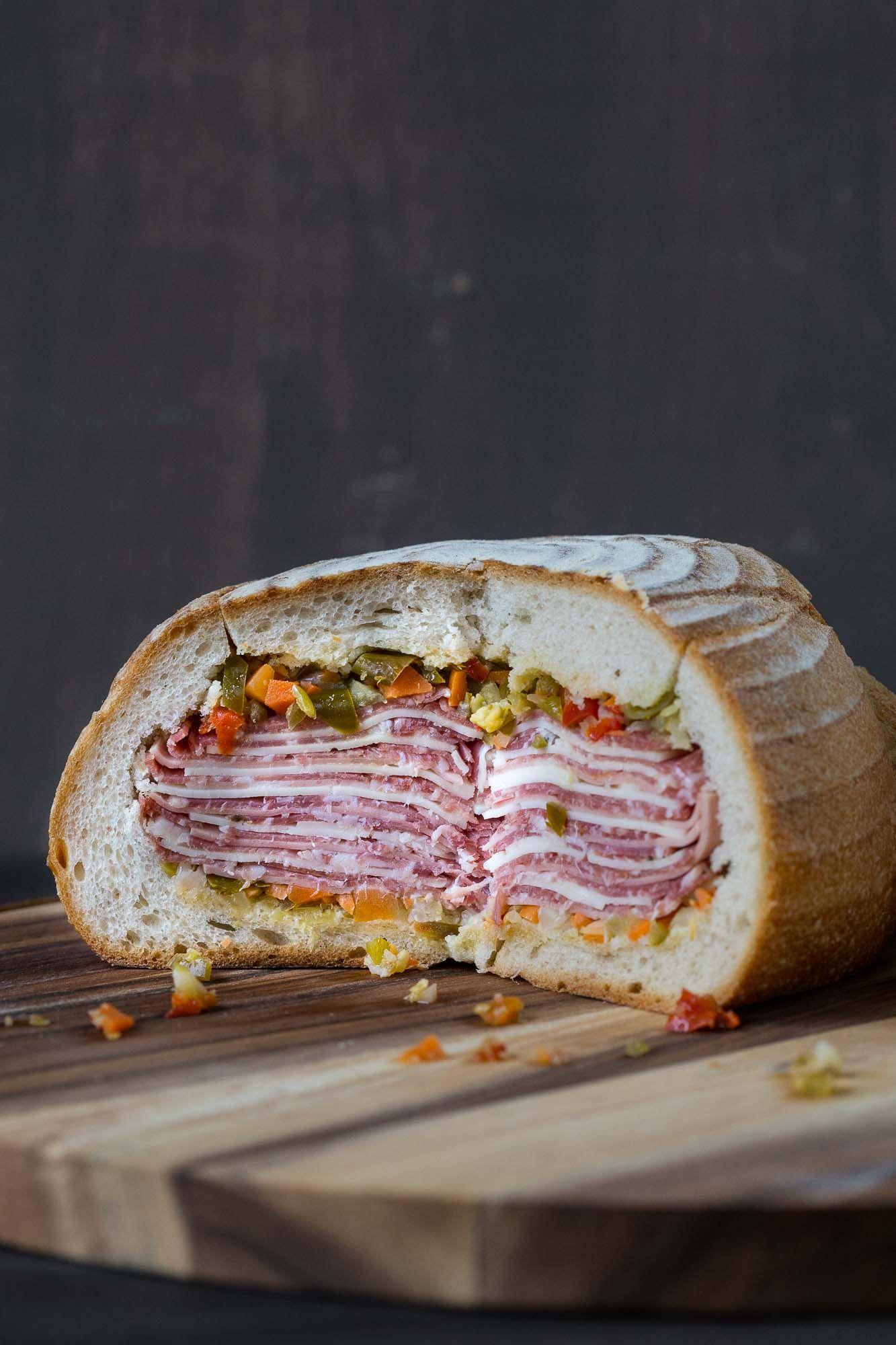 Gigantic Muffaletta In A Sourdough Bread Bowl Recipe Bread Bowls Football Food Dinner