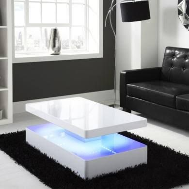 Merveilleux LED White High Gloss Coffee Table