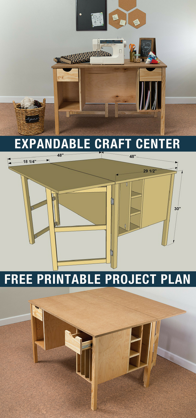 Diy Expandable Craft Center Free Printable Project Plans On Buildsomething Com Whether You Diy Furniture Plans Woodworking Plans Free Woodworking Plans Diy