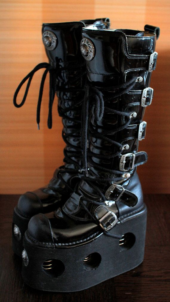 a0490ac5ad5 15cm HIGH platform boots with metal springs size: 37 EU 6.5 US Women 4 UK  high quality thick lined leather/ patent leather metal buckles springs and  logos ...