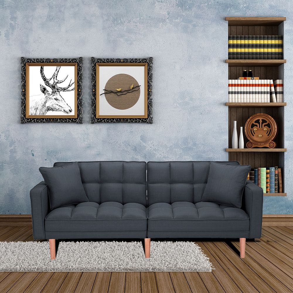 Clearance Mid Century Modern Sofa Bed Sectional Sofa With Wood Legs Two Pillows Premium Upholstery Fabric Futon Sofa Bed Love Seat Living Room Bedroom Furn In 2020 Mid Century Modern Sofa