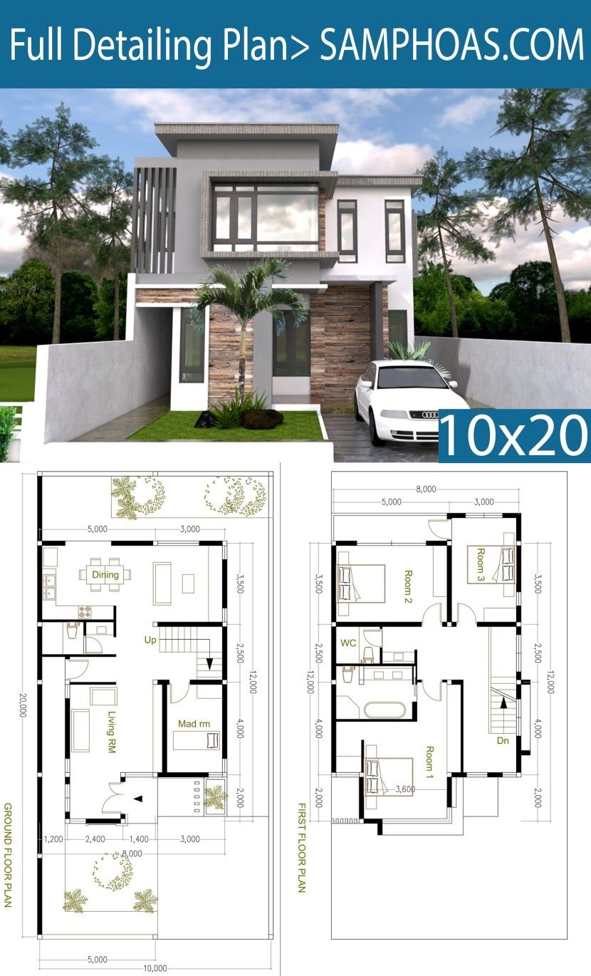 4 Bedroom Modern Home Plan Size 8x12m Samphoas Plan House Construction Plan Home Building Design Modern House Floor Plans