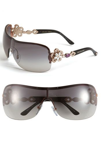 02c1851330 BVLGARI Crystal Temple Rimless Shield Sunglasses available at Nordstrom