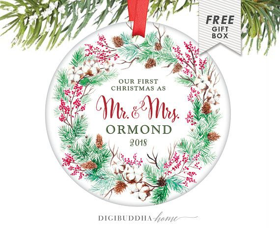our first christmas as mr mrs christmas gift personalized christmas ornament newlywed ornament wreath ornament wedding ornament gifts engagement and