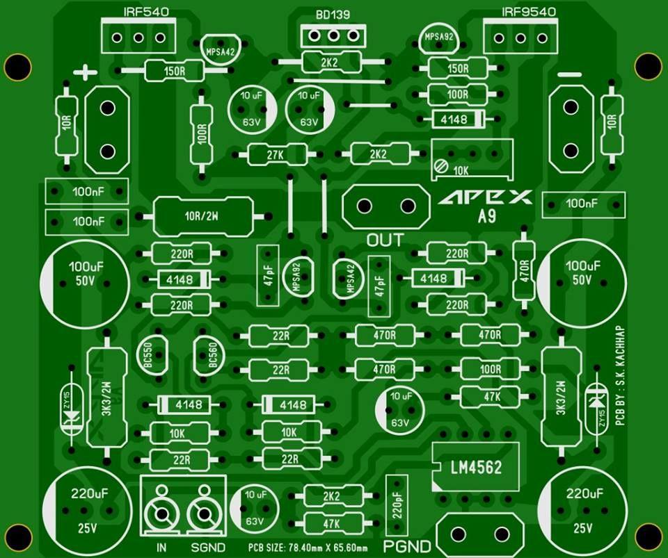 Pcb Power Amplifier Apex A9 Electronics Circuit Electronic Circuit Projects Circuit Board Design