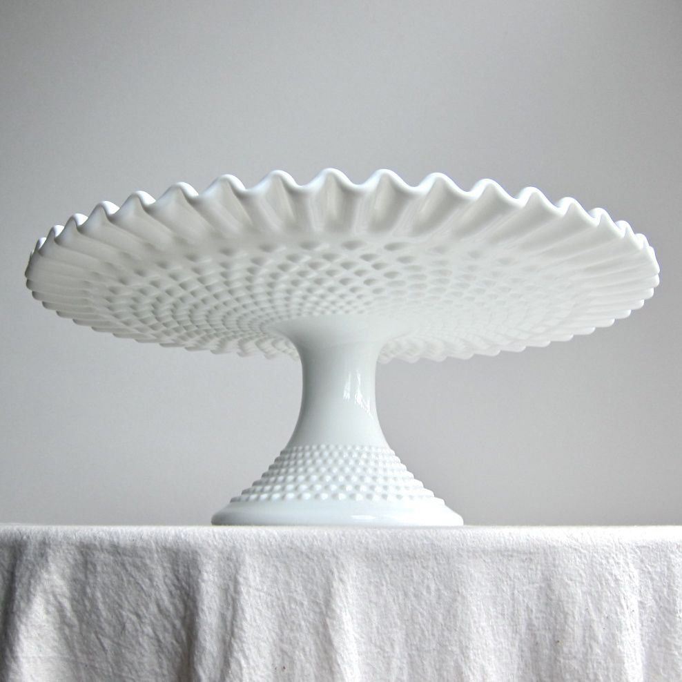 Love the vintage feel of this Hobnail Milk Glass Wedding Cake Stand by Fenton Pedestal Cake & Vintage Hobnail Milk Glass Wedding Cake Stand by Fenton - Pedestal ...