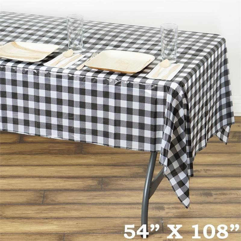Gorgeous Checkered 54 X 108 Disposable Plastic Table Cover White Black Our Lovely Checkered Disposable Plastic Table Covers Will Drift You Back T Country