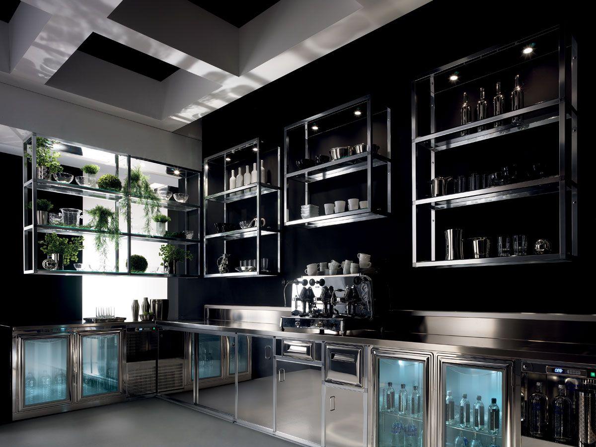 Banco bar alukuadro realizzato con struttura tubolare di alluminio