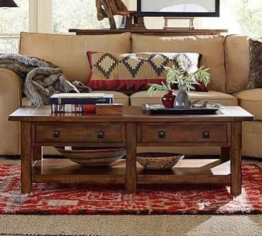 Benchwright Coffee Table Rustic Mahogany Coffee Tables Side
