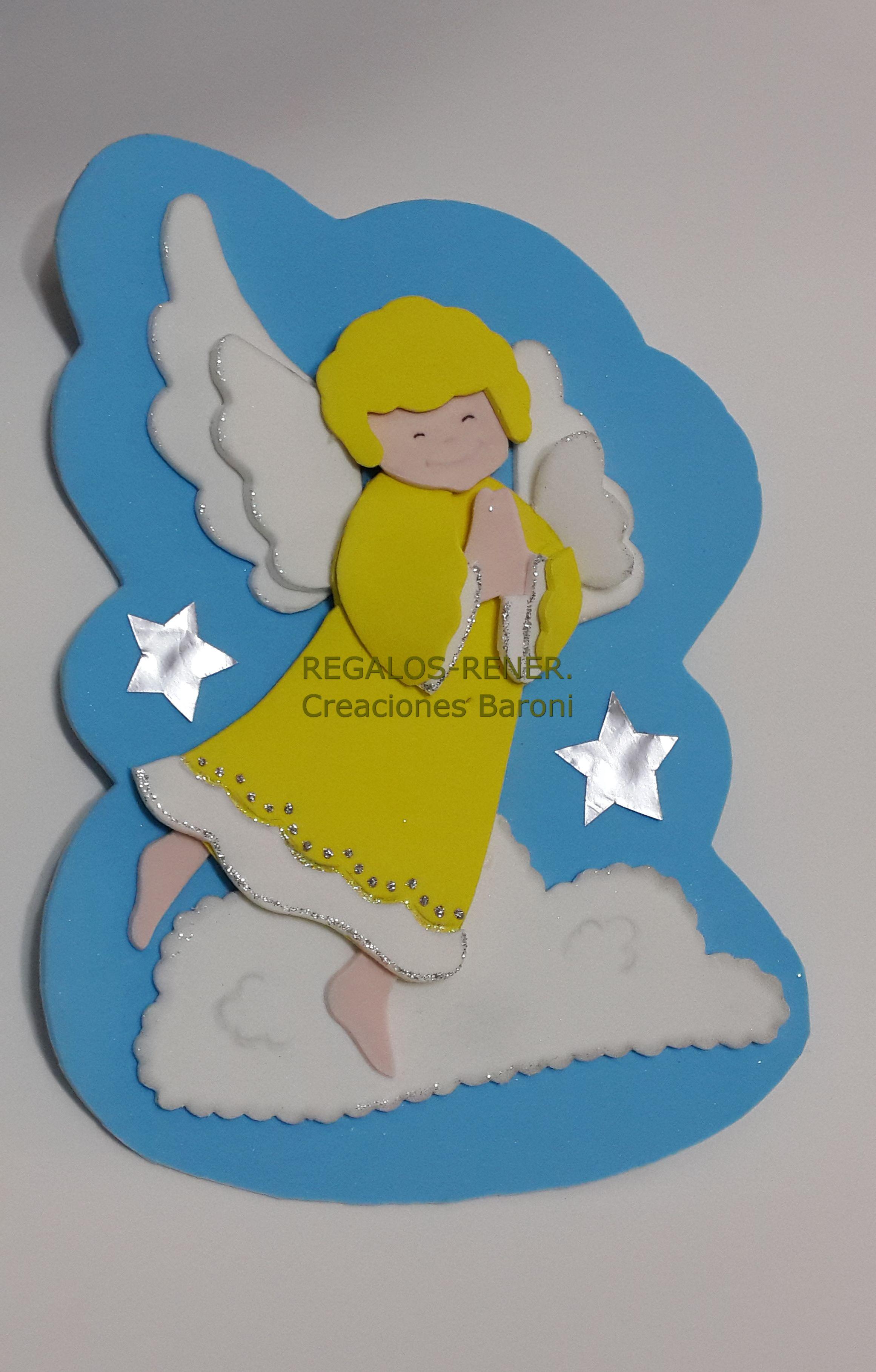 Cartel pared angelito en goma eva / foami | Wall Birthday ...