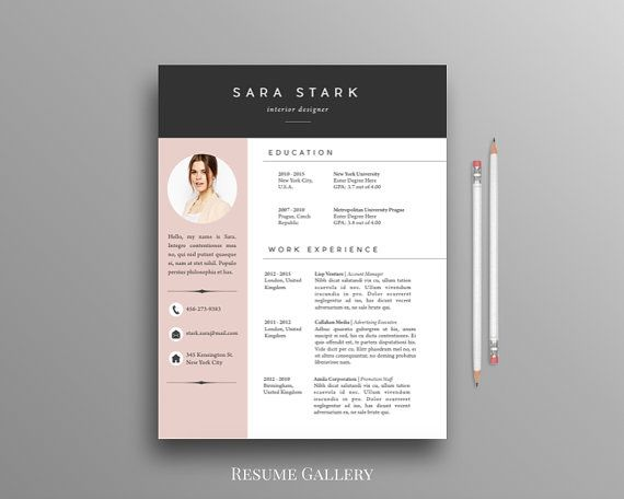 Creative Resume Template  CV Template  Cover Letter  For MS Word  iWork  Instant Download
