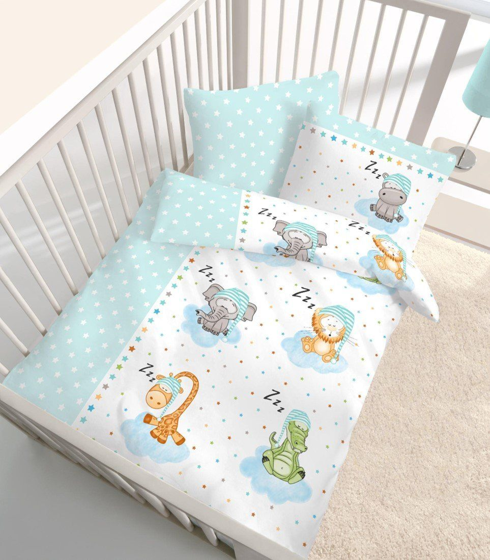 fein biber baby bettw sche tiere safari sterne in mint blau gr n gr e 40x60 100 x 135 cm. Black Bedroom Furniture Sets. Home Design Ideas