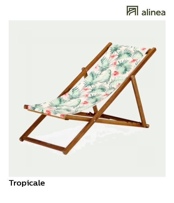 Alinea Tropicale Chilienne Chaise Longue De Jardin Motifs Tropicaux Bains Soleil