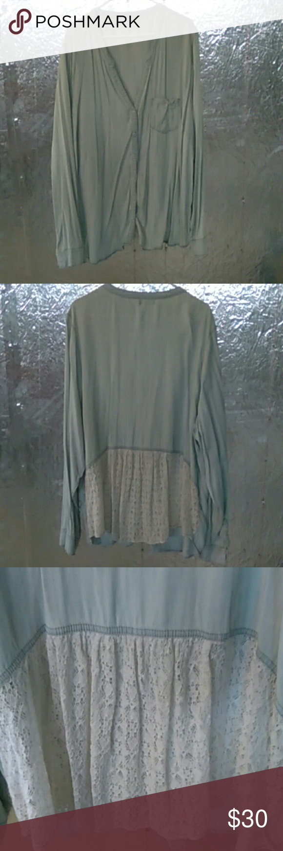 Maurices Top Long sleeve button up top with lace back. Has one front pocket. NWOT Maurices Tops Button Down Shirts