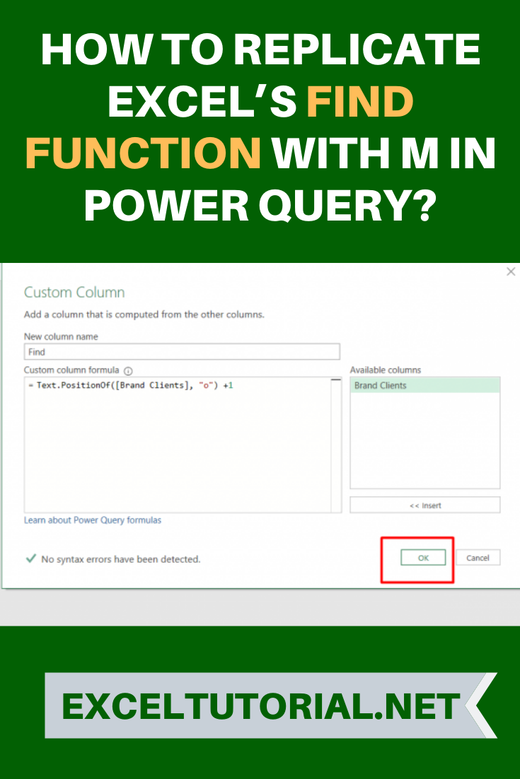 How to Replicate Excel's FIND Function with M in Power Query ...