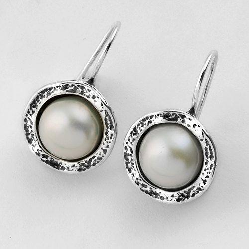 Shablool Sterling Silver 925 Earrings White Pearl New Unique Women Men Jewelry