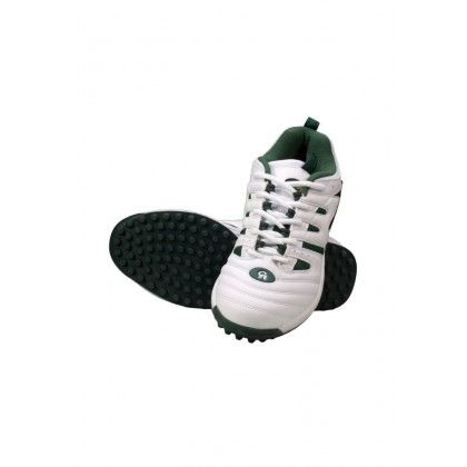 White & Green CA Gold Cricket Shoes By Dunya Trade Hub.Com