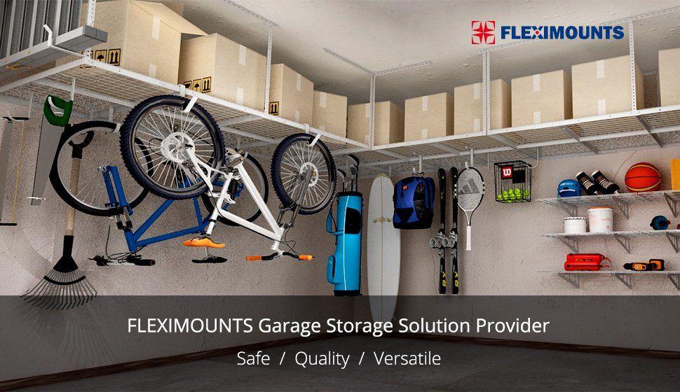 Fleximounts 4x8 Overhead Garage Storage Rack Adjustable Ceiling