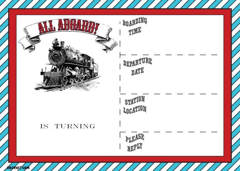 Free Printable Vintage Train Ticket Invitation Template Drevio Train Ticket Invitations Train Birthday Invitations Ticket Party Invitations