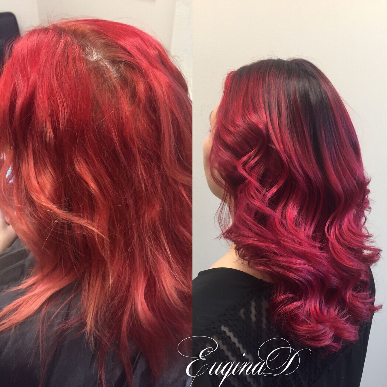 Faded Red Hot Roots To Balayage Ombre Deep Violet Faded To Vibrant Red Balayage Aveda Color Red Balayage