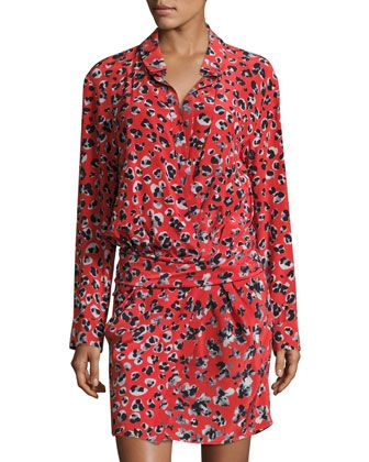 Banded-Waist+Floral-Print+Shirtdress,+Beige/Red/Blue+by+Thakoon+at+Neiman+Marcus+Last+Call.