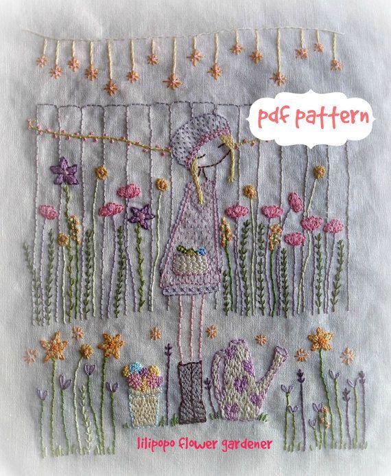 patron para bordar a mano flor jardinero PDF por LiliPopo en Etsy ...